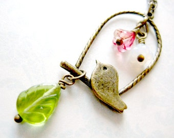 Bird Necklace, Birds Pendant Jewelry, Bird Charm Necklace, Bird, flower and leaf Necklace, Cage Necklace, Love Bird Necklace
