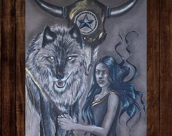Wynonna's totem, original drawing, wall decor, Wild West, animal totem illustration hand signed art