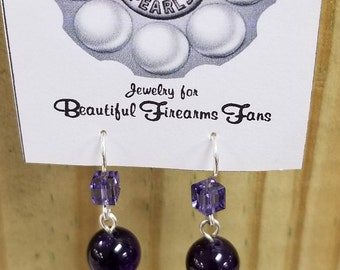 Earrings from recycled 38 SPECIAL bullet casings and new Amethyst beads