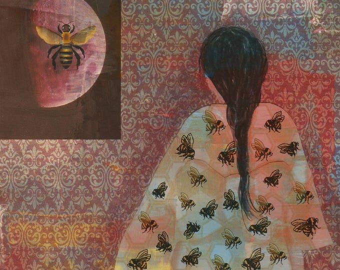 The Bee Kimono zen blank greeting card