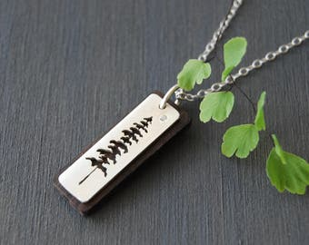 Spruce Tree Necklace, Sitka Pendant Necklace, Silver and Wood Necklace, Cut Out Pendant, Wooden Jewelry, Wood Necklace, Canadian Jewelry