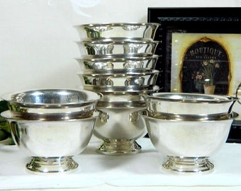 Ten Reed & Barton Paul Revere Design Silverplate Small Sherbet Dishes Finger Bowls