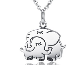 Elephant Necklace Chain with Mother and Baby Elephant Pendant - Christening Gift