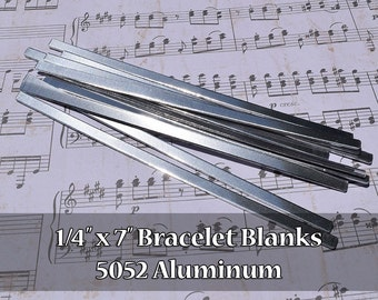 "100-5052 Aluminum 1/4"" x 7"" Bracelet Cuff Blanks - Polished Metal Stamping Blanks - 14G 5052 Aluminum - Flat - Longer Cuff"