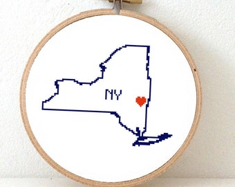 New York Map Cross Stitch Pattern. NY State Needlepoint pattern with Albany. USA decor. Wedding gift