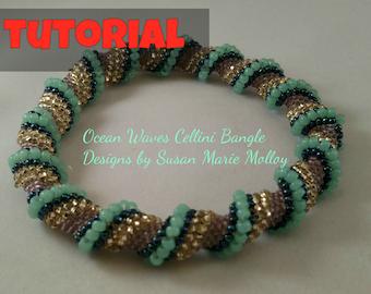 TUTORIAL: Cellini Spiral Ocean Waves Bangle Bracelet Beading Pattern