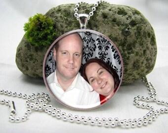 38mm Large Photo Pendant Necklace, Custom Photo Pendant Necklace, Photo Necklace, Picture Necklace