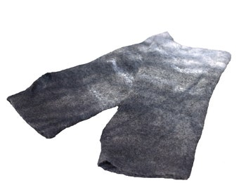 Grey Fingerless gloves Felt Mittens Felted Wool Gloves Long Arm Warmers Post Apocalyptic Gift for Her