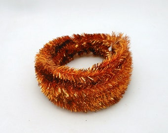 Roll of Metallic Copper Colored Wired Tinsel Garland - 25 Feet