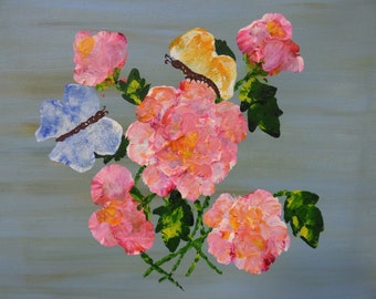 Spring painting, pink flowers, butterflies, unstretched canvas