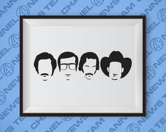 Channel 4 News Team Anchorman Poster - Will Farrell, Steve Carrell, David Koechner, Paul Rudd, Ron Burgundy, Funny Art, Movies, Comedy