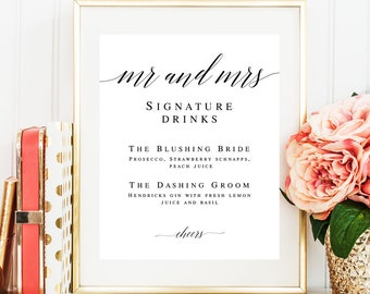Mr and Mrs Signature drink sign download Editable template Wedding template DIY Signature cocktail sign Wedding drink menu template #vm51