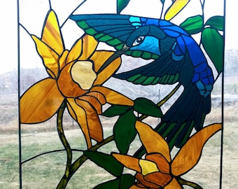 16x24 inch Hummingbird and Clematis Stained Glass Window