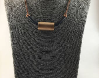 Unique, Postmodern Statement Necklace. Hardware Jewelry, Bronze, Copper, Rubber Tubing, Copper Chain.