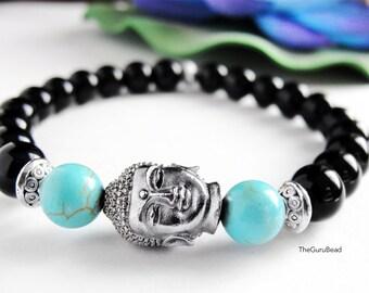 Turquoise Bracelet, Buddha Bracelet, Meditation Bracelet, Mala Bracelet, Howlite Bracelet, Energy Bracelet, Yoga Bracelet, Yoga Mala Beads