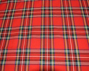 Royal Stewart Tartan Fabric. Soft Poly viscose. Machine Washable.  Price per half metre.
