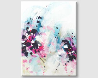Canvas painting Gift for mom Abstract painting on Canvas Original art Wall Art Abstract Acrylic Painting Abstract Art on Canvas Pink art