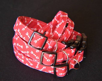 Handmade Adjustable Red Cupid's Arrow Dog Collars with Plastic Buckles XS S M L XL