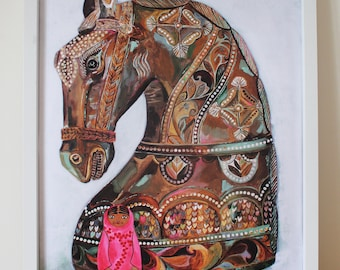 Horse Statue & Russian Doll Painting / 40x50cm / Poster Print / Art Print / Acrylic Painting /Illustration