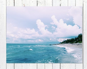 Beach House Art   Ocean Photography   Turquoise Sea Over Endless Blue Horizon   Large Photo Wall Art Decor Pictures   Coastal Decor Beach