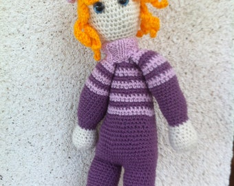 Doll Pink/Purple tones crocheted with acrylic yarn