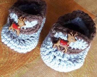 """""""Queen of winter"""" baby booties"""