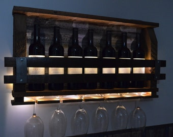 Wine Rack - LED Lighted - Barn Wood Wine Rack - with rusted  barn roof tin, holds 6 wine glasses