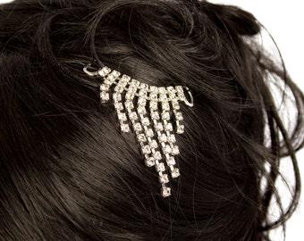 Stunning triangular Fringes of  Preciosa Czech Crystals diamonds pin-in.