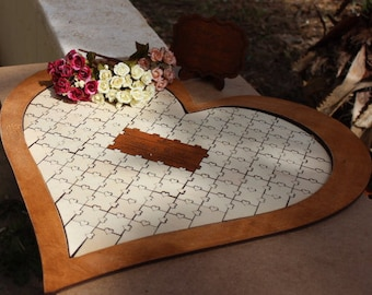 Personalized wedding guest book alternative wooden heart guestbook puzzle, wood guestbook puzzle, wood guest book sign Gift for couple