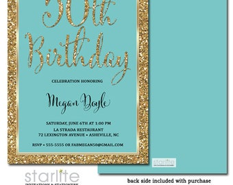 60th Birthday Invitation Women Turquoise and Gold Glitter, 60th Birthday Invitation Aqua Gold, ANY AGE, Printable or Printed Invitations