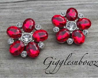 Brand New Set of TWO Starburst Acrylic Rhinestone Buttons- RED