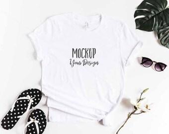 White Shirt Mockup / Bella + Canvas White Shirt Mockup / Tropical Shirt Mockup