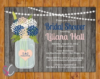 Rustic Wood Floral Glass Jar with Lights Bridal Shower Invite Navy Blush White Flowers (304)