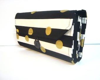 Cash Envelope Wallet  / Dave Ramsey System / Zipper Envelopes -  Black and White Stripes with Gold Dots