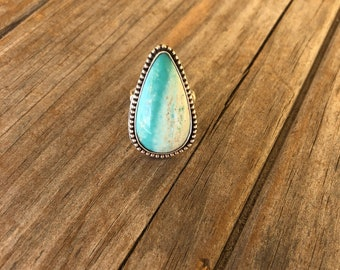 Petrified Blue Opalized Wood Statement Ring, Opalized Wood Ring, Big Ring, Sterling Silver Ring 7.5 ring