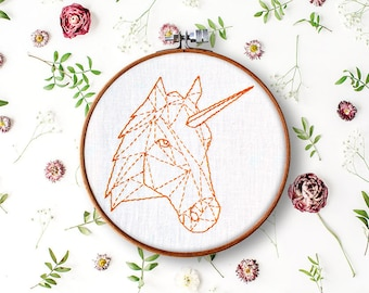 unicorn pdf pattern, beginner hand embroidery, geometric embroidery pattern, contemporary embroidery, stitch work pattern