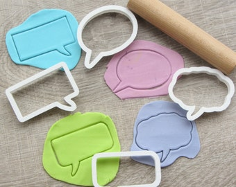 Comics speech bubbles cookie cutters set, 4 pcs