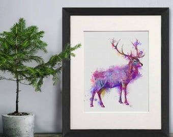Deer poster - Deer full pink and purple print - Deer decor Deer print Deer home art print Deer art print Stag art print Deer picture