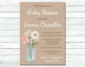 Floral Mason Jar Baby Shower Invitation, Printable Floral Kraft Invite, Floral Rustic Baby Shower, DIY Kraft Invitation, Download, 007-B