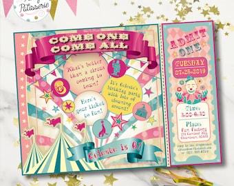 Pretty Vintage Circus Birthday Party Invitation / Digital File