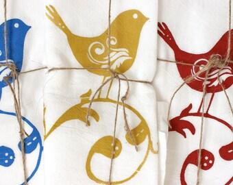 "3 ""SWEET BIRDS"" Tea Towels- Floursack Kitchen Towels - Sweet Birds   - Dish Towel - Tea Towel"
