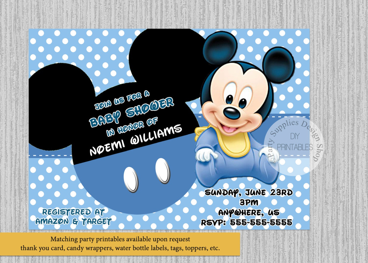 PRINTED or Digital Cute Baby Mickey Baby Shower Invitations