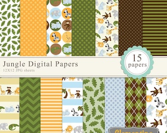 Jungle digital papers, digital scrapbooking paper, royalty free commercial use- Instant Download