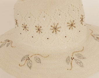 Cream Knitted-Look Winter Hat --Hand-Painted