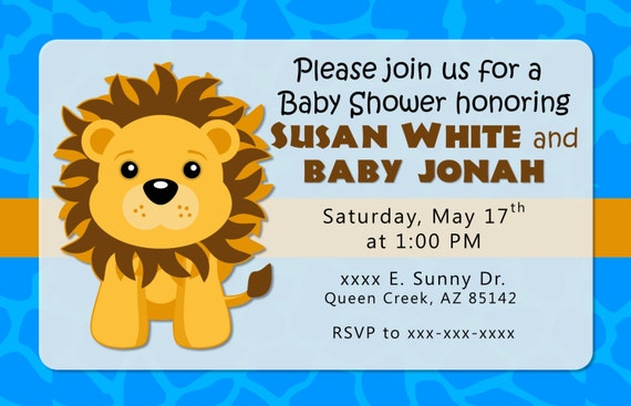 Blue Lion Baby Shower Invitation or Birthday Invitations