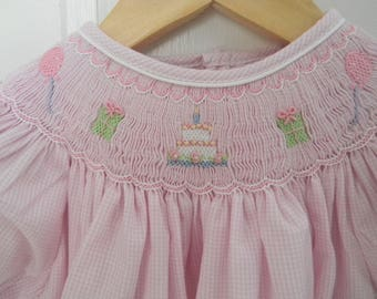 Girls Smocked Birthday Party Dress / Presents / Pink Gingham / Embroidered Dress / Baby Girl / Toddler Smocked Dress