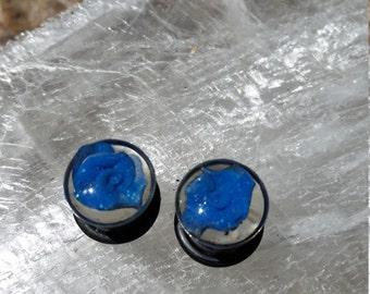 "Blue Polymer Flower Resin Plugs 7/16"""