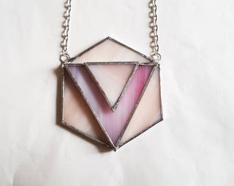 Geometric Necklace, Triangle Necklace, Stained Glass Pendant, Boho Necklace, Pyramid Necklace, Arrow Pendant, Long Necklace, Festival