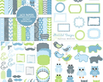 Digital Scrapbook Baby Boy Kit Scrapbooking Paper Digital Frame Clip Art  92 Items