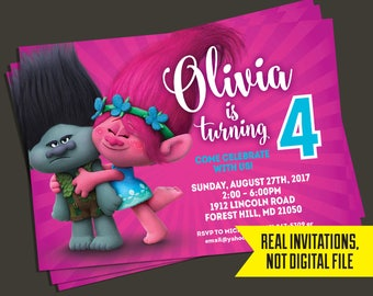 Trolls Birthday Invitation   Trolls Invitation - Poppy and Branch